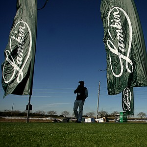 Lamkin banners on display at Demo Day. Large banners flapping in the wind are a huge part of the displays.
