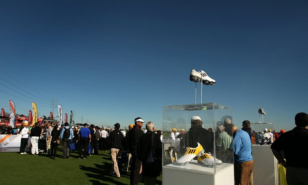 The AdiZero shoe by Adidas is displayed as though it's floating on air at Demo Day.