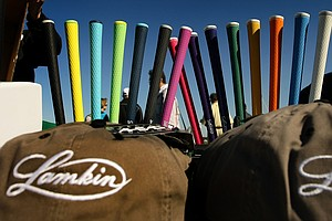 Colorful Lamkin grips are on display at Demo Day.