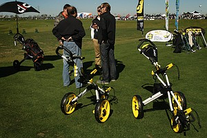 Push carts by Clicgear are on display at Demo Day.