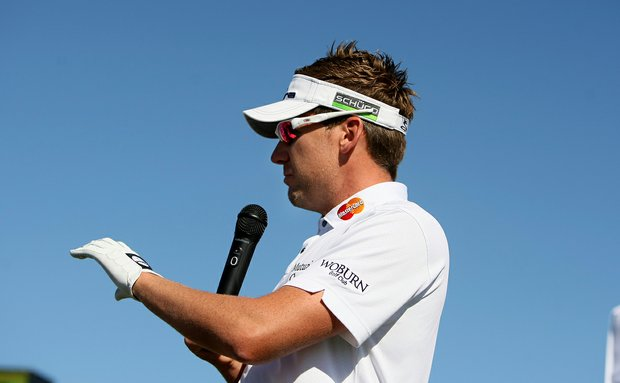 Ian Poulter talks with the crowd at the Cobra Puma Golf booth at Demo Day. A handful of Cobra Puma pros were on hand at demo day.
