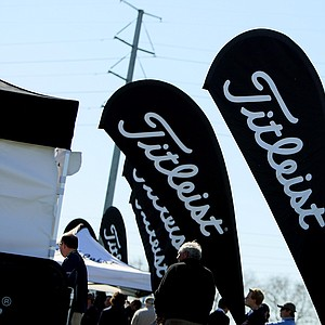 Titleist banners fly large on the range at Demo Day.