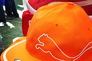Oversized Rickie Fowler hats were on display at the Cobra/Puma booth.