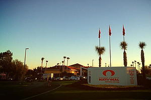 The sun rises over the entrance to Orange County National, site of the PGA Show Demo Day.