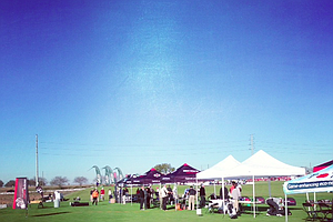 Golf companies set up early in the morning for Demo Day 2013.