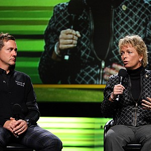 Ian Poulter and Dottie Pepper discuss the state of the game at the PGA Forum Stage during the 2013 PGA Merchandise Show.