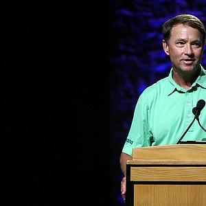 Davis Love III speaks during the PGA Junior League Golf forum on the PGA Stage.