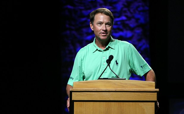Davis Love III speaks during the PGA Junior League Golf forum on the PGA Stage.