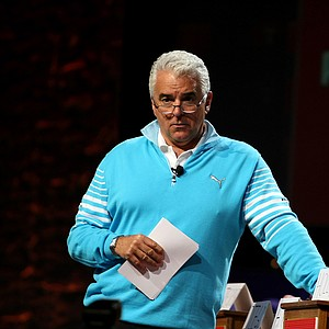"""Actor John O'Hurley hosted the """"Golf Feud"""" by Cobra Puma Golf on the PGA Forum stage."""