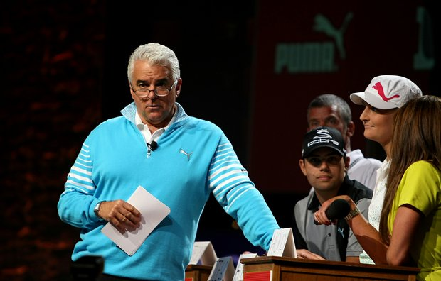 "Actor John O'Hurley hosted the ""Golf Feud"" by Cobra Puma Golf on the PGA Forum stage."