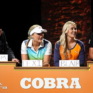 """Golf stars Lexi Thompson, Blair O'Neal and Ian Poulter play the """"Golf Feud"""" game hosted by Cobra Puma Golf."""