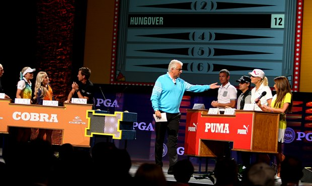 "Actor John O'Hurley has a little fun with some of the Cobra Puma Golf celebs during the ""Golf Feud"" on the PGA Forum stage."