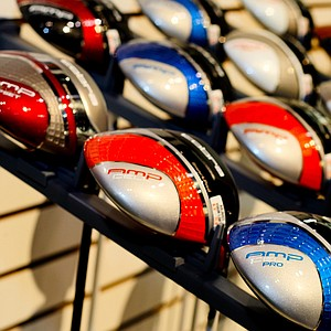 Cobra's AMP CELL drivers in a variety of colors are shown on the show floor.