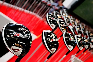 Callaway's new X Hot drivers are on display at the Callaway booth at the Orange County Convention Center.