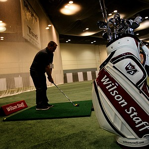 Wilson's lineup is on display at the indoor driving range at the Orange County Convention Center.