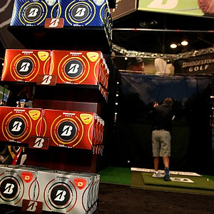 Bridgestone's line of B330 balls is on display at the company's ball-fitting area on the show floor.