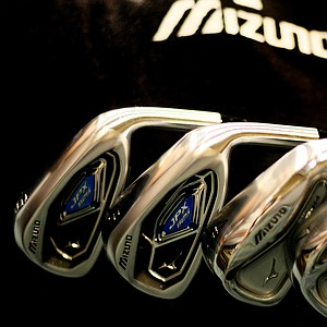 Mizuno's JPX-825 and MP-H4 irons could be seen in the company's room near the show floor.
