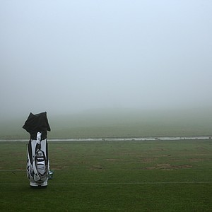 A bag sits on the practice range during a fog delay before the start of the third round of the Farmers Insurance Open on the South Course at Torrey Pines Golf Course on January 26, 2013 in La Jolla, California.