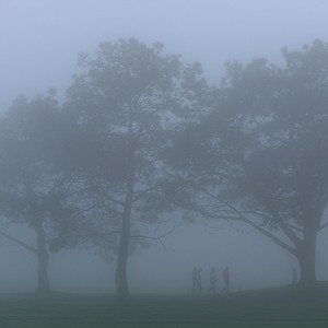 People walk the course in the fog during the Third Round at the Farmers Insurance Open at Torrey Pines North Golf Course on January 26, 2013 in La Jolla, California.
