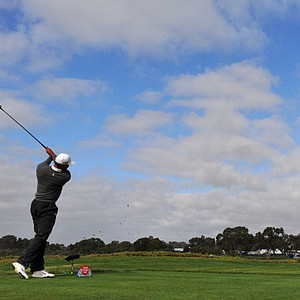 Tiger Woods hits a drive on No. 17 at Torrey Pines during the third round of the Farmers Insurance Open.