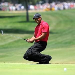 World-No.1 Tiger Woods drops to his knees after missing a birdie putt on a sudden death hole following an 18-hole playoff round at the 108th US Open championship against compatriot Rocco Mediate at Torrey Pines.