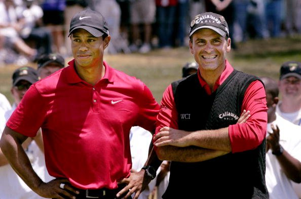 Golfers Tiger Woods, left, and Rocco Mediate stand at the awards table after Woods won 108th U.S. Open at Torrey Pines. Woods out-dueled Mediate on the first sudden-death hole to win the U.S. Open after the two were tied at the end of an 18-hole playoff.