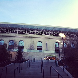 An outside look at Cal's Memorial Stadium.