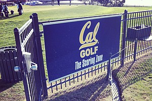 Signage for the Cal men's golf team at their practice facility.