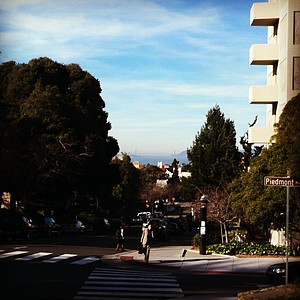 The view from campus at UC Berkeley, with the Golden Gate Bridge in the distance.