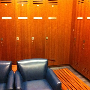 The locker room inside Memorial Stadium at Cal.