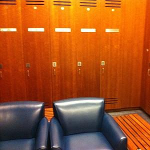 The locker room inside Memorial Stadium at Cal.