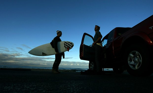 Geoff Cunningham, co-founder of Linksoul, left, and Gregg Hemphill of Oakley's Surf Division