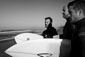 TaylorMade's Scott Mayers, Eric Loper and Christopher Christopher Piniarski checking out the waves at South Ponto State Beach