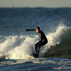 Gregg Hemphill of Oakley surfing in the Trestles area of San Clemente.