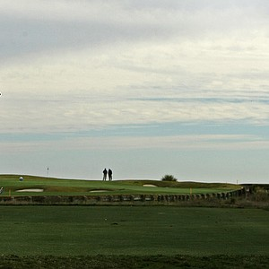 Players tee off at No. 17 during the 2013 Jones Cup Invitational at Ocean Forest. No. 17 is a par-3 going toward the ocean.