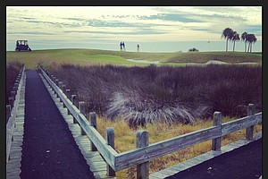 The walking bridge to No. 17 at the 2013 Jones Cup Invitational at Ocean Forest.