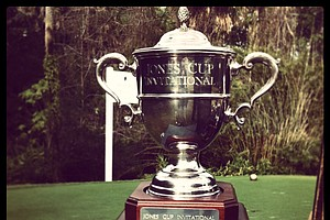 The Jones Cup trophy sits on the first tee during the 2013 Jones Cup Invitational at Ocean Forest.