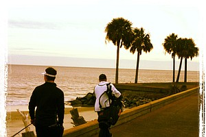 Players walk to No 18 during the 2013 Jones Cup Invitational at Ocean Forest.