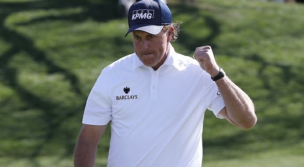 Phil Mickelson pumps his fist during Round 3 of the Waste Management Phoenix Open.