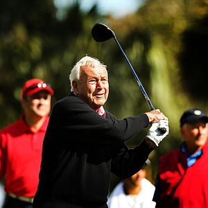 Arnold Palmer hits his tee shot at No. 1 during the Devon Quigley Pro-Am at the Floridian. Proceeds from the event are going to benefit the Devon Quigley Special Needs Trust.