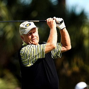 Jack Nicklaus tees off  on the first tee at the Devon Quigley Pro-Am at the Floridian. Proceeds from the event are going to benefit the Devon Quigley Special Needs Trust.