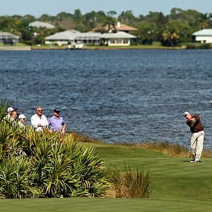 Dave Stockton hits his tee shot at No. 18 during the Devon Quigley Pro-Am at the Floridian.