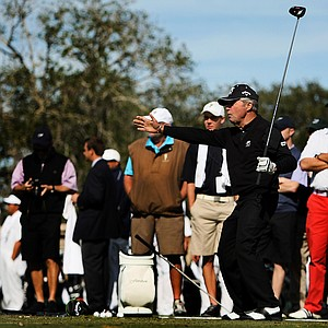 Gary Player has a little fun on the range prior to the Devon Quigley Pro-Am at the Floridian.