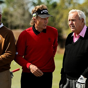Bernhard Langer and Arnold Palmer chat prior to the Devon Quigley Pro-Am at the Floridian.