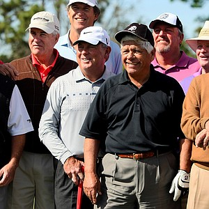 Major winners from left, Dave Stockton, Steve Jones, Lanny Wadkins, Lee Trevino, Mark Calcavechia, Tom Kite, Ben Crenshaw and Bernhard Langer gather as part of a larger group at the Devon Quigley Pro-Am at the Floridian.