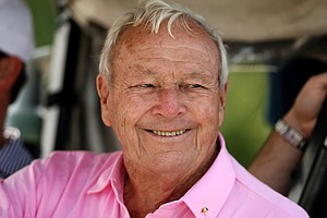Arnold Palmer jokes with his playing partners during the Devon Quigley Pro-Am at the Floridian. Proceeds from the event are going to benefit the Devon Quigley Special Needs Trust.