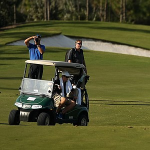 Jack Nicklaus hits a shot from the 18th fairway during the Devon Quigley Pro-Am at the Floridian.