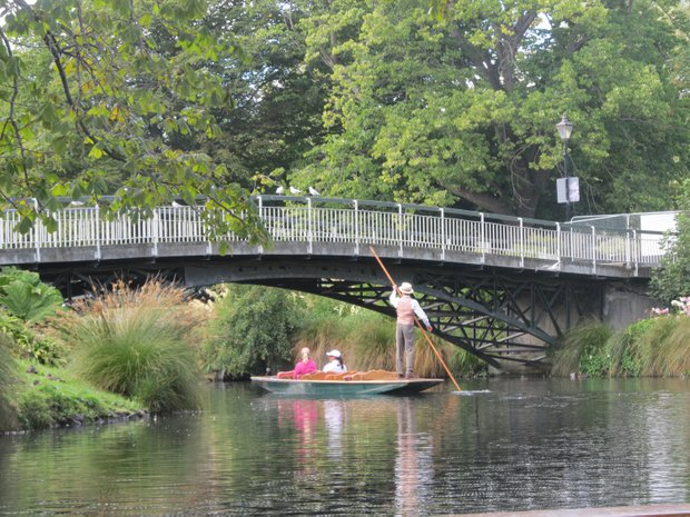 Anna Nordqvist (in pink) takes a trip down the Avon in Christchurch, New Zealand.
