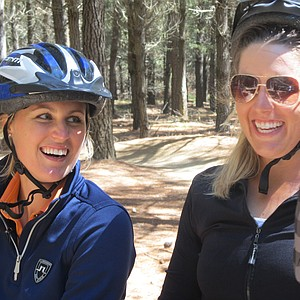 Camilla Lennarth and Jessica Speechley took to the McLeans for on Thursday afternoon for a fun time on mountain bikes in Christchurch, New Zealand.