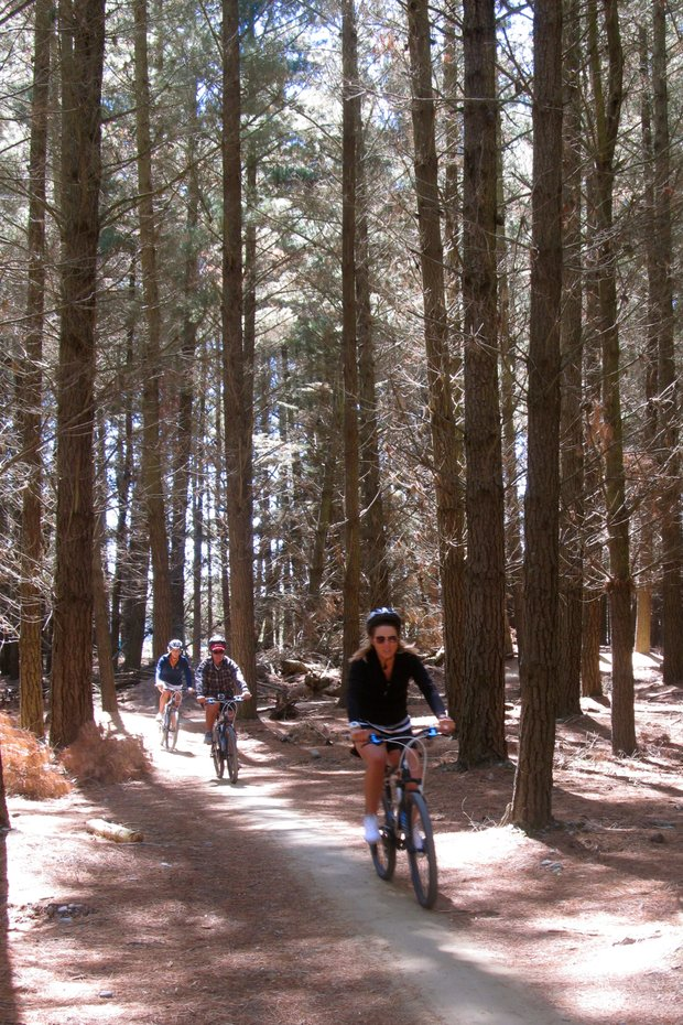 Mallory Fraiche, Camilla Lennarth, Jessica Speechley and Golfweek's Beth Ann Baldry took to the McLeans for on Thursday afternoon for a fun time on mountain bikes in Christchurch, New Zealand.